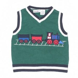BabiesRUs Green Train Knit Sweater Vest 18M